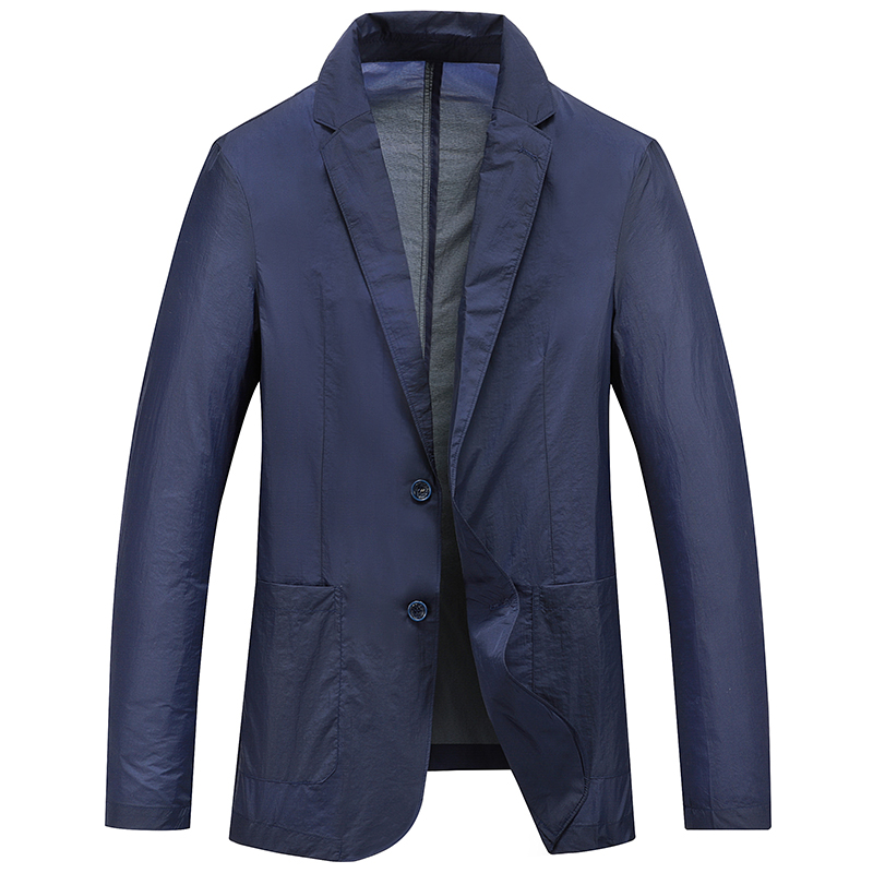 2020 Spring Man Blazer Thin Quick -Drying Sunscreen Coat Fashion Men Suit Jacket Business Casual Overcoat Blue Gray DA301