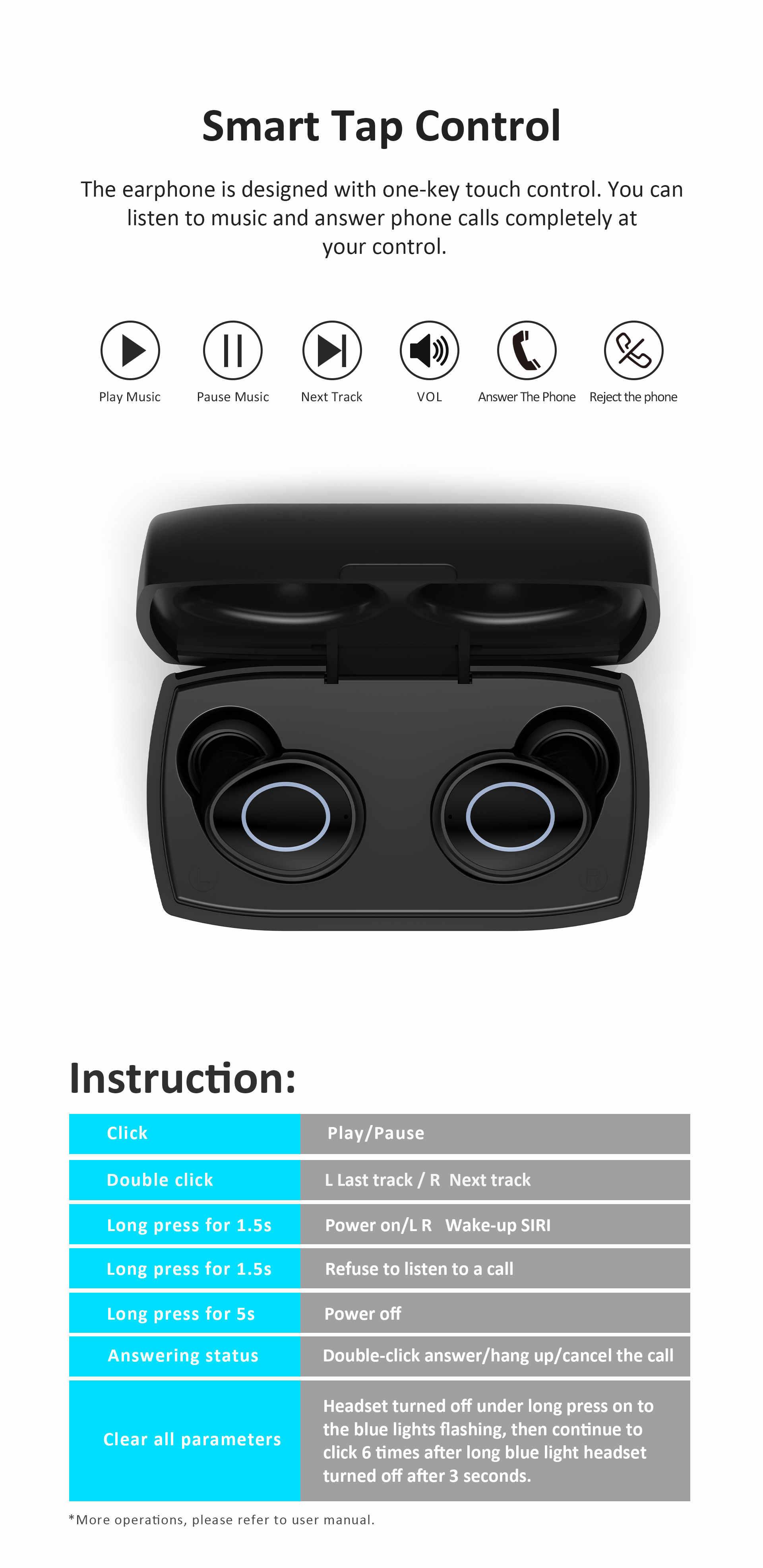 LEAGOO A2 TWS Bluetooth 5,0, беспроводные наушники с управлением, IP4X, водонепроницаемые, стерео, Автоматическое Сопряжение, снижение уровня шума с зарядным устройством