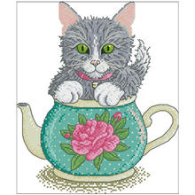 Grey cat in flower teapot patterns counted cross stitch 11ct
