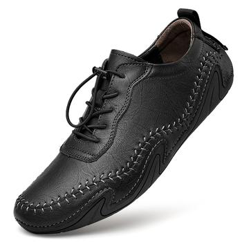 Luxury Genuine Leather Shoes Men Flats Soothing Breathable Men Loafers Soft Leather Casual Shoes Men Driving Shoes Big Size 47 tanie i dobre opinie MINUSIKE Prawdziwej skóry Skóra bydlęca RUBBER 3231413 Lace-up Pasuje prawda na wymiar weź swój normalny rozmiar Podstawowe