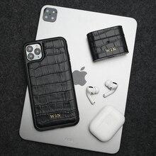Horologii nome personalizado livre para o melhor iphone caso para 11 12 pro max x xs max couro italiano crocodilo padrão caixa de presente dropship
