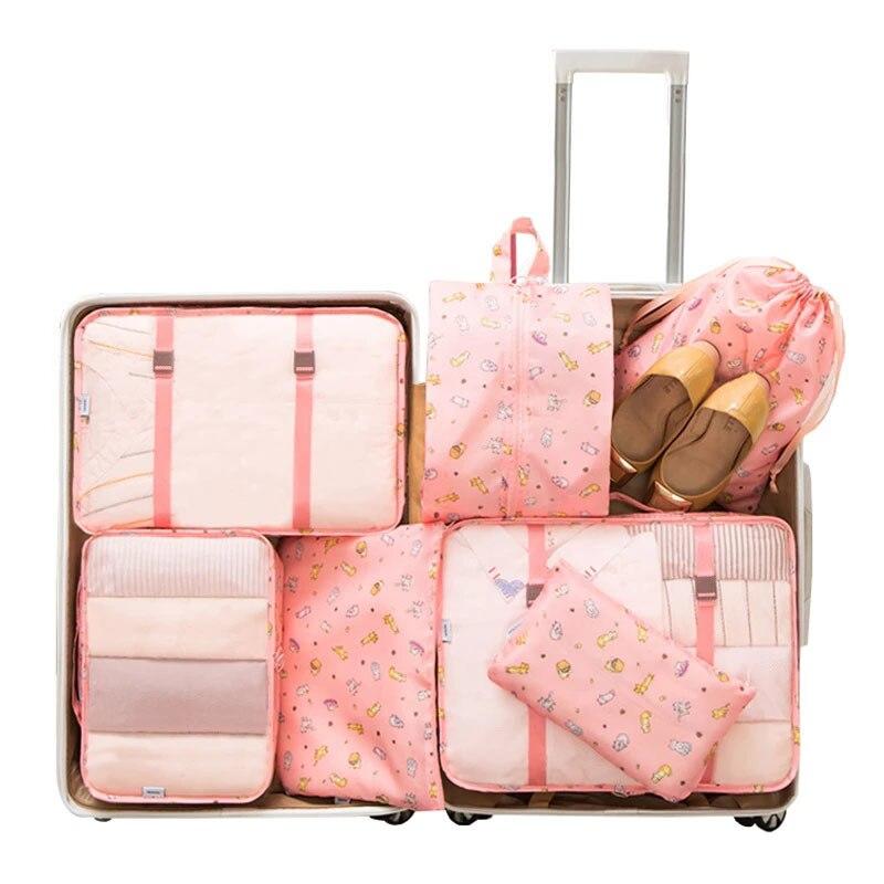 7 Teile/satz Gepäck Verpackung Reise Veranstalter Kleidung Lagerung Wasserdichte Taschen Mesh Tasche In Beutel Verpackung CubeTravel Zubehör