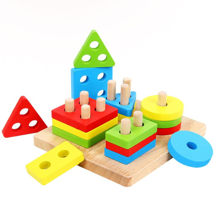 Montessori Materials Math Geometry Shape Cognitive Building Toy Kids Baby Puzzle Toy Wooden Shape Sorting Toys