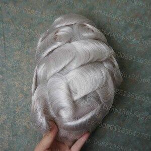 Image 2 - Hstonir branco humano remy peruca de cabelo laço suíço leve onda densidade cabelo dos homens sistema h074