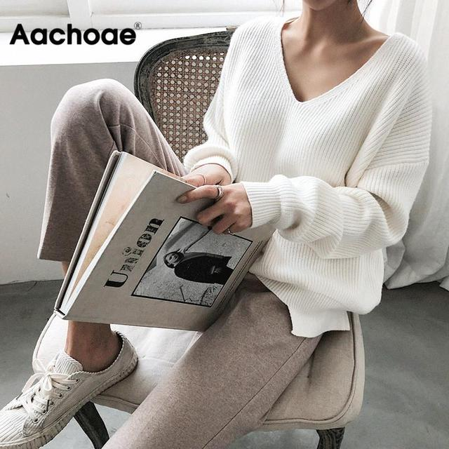 Womens Sweaters 2020 Autumn Winter Casual V Neck Women Pullover Sweater Solid Long Sleeve Fashion Loose Knitted Cashmere Top 1