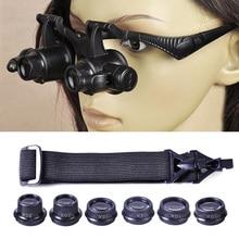 цена на Magnifier LED Glasses Magnifier Watch Repair Magnifier Eye Double 10/15/20/25X Magnifier Jeweler 8 Lens Loupe