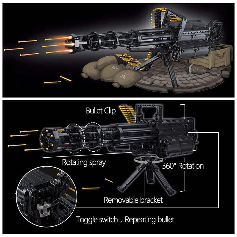 1422Pcs Technic Stadt Gatling Guns Emission Modell Bausteine Military Armee WW2 Waffe Ziegel Spielzeug für Jungen Geschenke