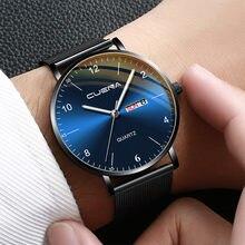 CUENA erkekler moda paslanmaz çelik Analog tarih spor erkek saatler kuvars kol saati iş erkek saat Montre Homme