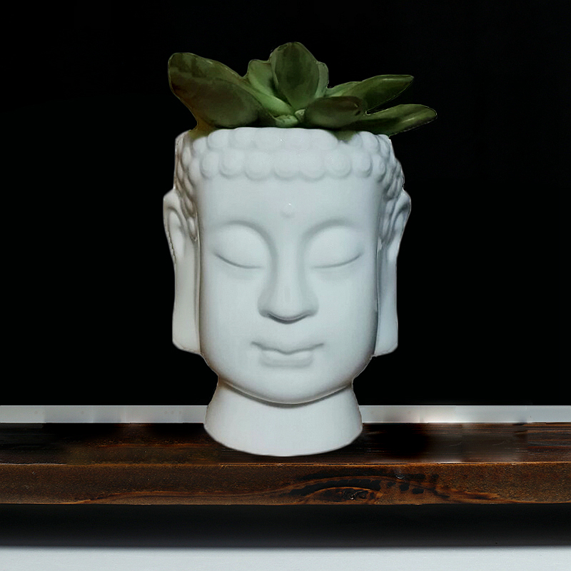 YXYT Buddha Head Planter ornament White Zen Ceramic Flower Pot for Succulents Plants Buddha face Statue Fengshui decor (4)