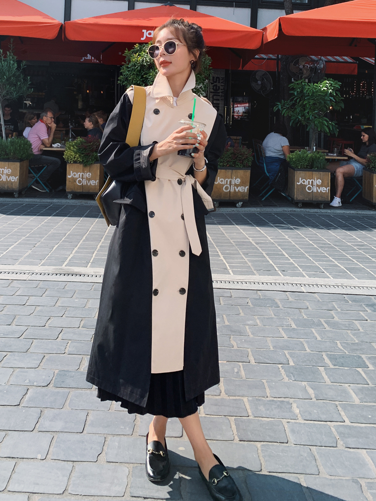 Women   Trench   Long Coat Double Breasted Black-Khaki Windcheater Cloak with Belt Turn-down Collar Ladies Outerwear Fashion 2019