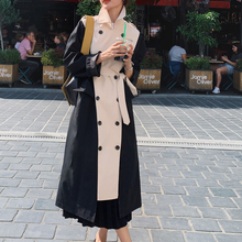 Women Trench Long Coat Double Breasted Black-Khaki Windcheater Cloak with Belt T