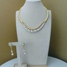 Yuminglai italien or 24K Dubai bijoux fantaisie ensembles collier et boucles doreilles FHK8063