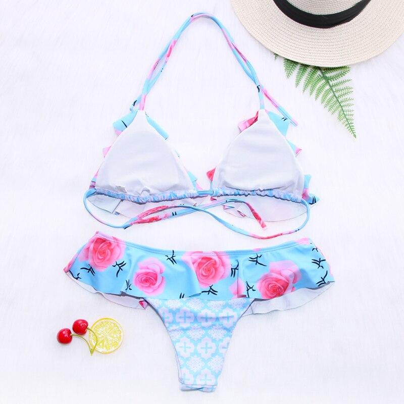 H892177a17e2e4abf876901d5e442fedad Miyouj Ruffle Bikini Off Shoulder Floral Swimsuit Bandage Bow Swimwear Push Up Biquini Feminino Bathing Suit Women Bikini Set