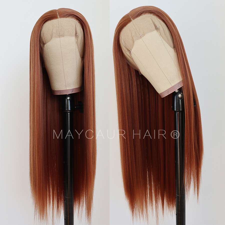 maycaur Synthetic Lace Front Wig Silky Straight 30B Heat Resistant Synthetic Replacement Hair Wigs for Fashion Women (1)