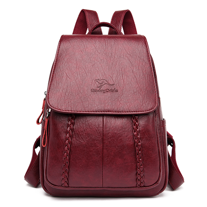 Women Leather Backpacks Ladies Sac A Dos Female Pack  High Quality Rucksacks For Girls Solid Travel Luxury Designer Bagpack 2020