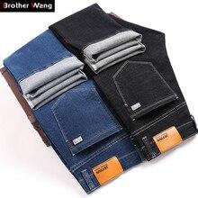 النمط الكلاسيكي الرجال الأعمال موضة الجينز 2019 الخريف الشتاء جديد أسود أزرق سميكة مستقيم تمتد سراويل جينز ماركة الذكور