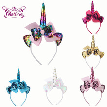 Nishine New Unicorn Horn Hairbands for Kids Girls Party Headwear Sequin Ribbon Bows Headbands Cute Children Photography Props