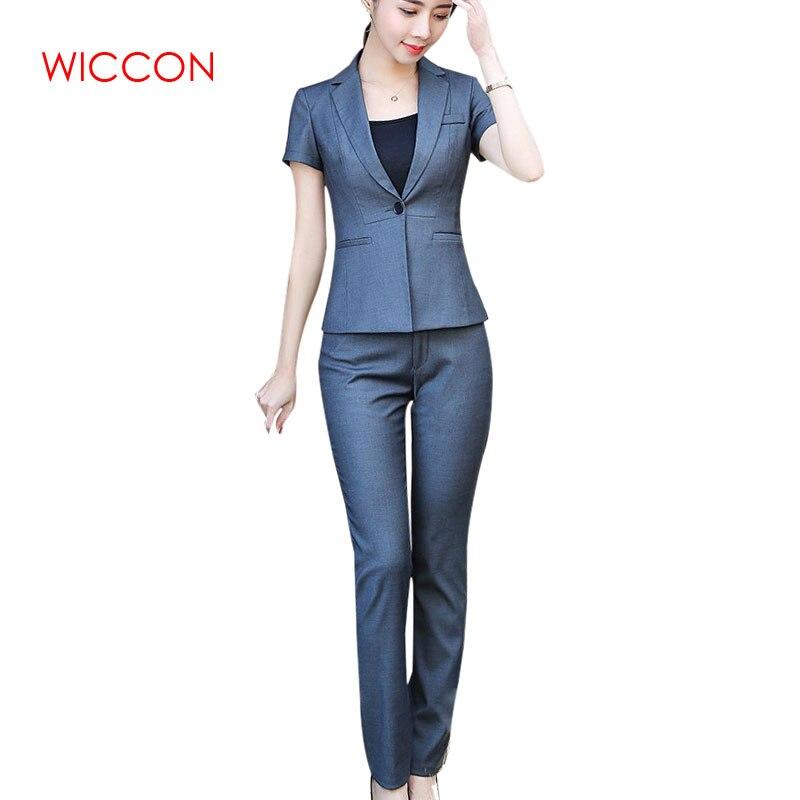 Женский брючный костюм из двух предметов, топ с коротким рукавом и брюки для офиса на лето, Униформа, одежда для работы с одной пуговицей