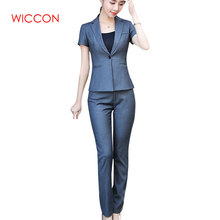 New Fashion Women Pant Suit Two Piece Set Short Sleeve Top A