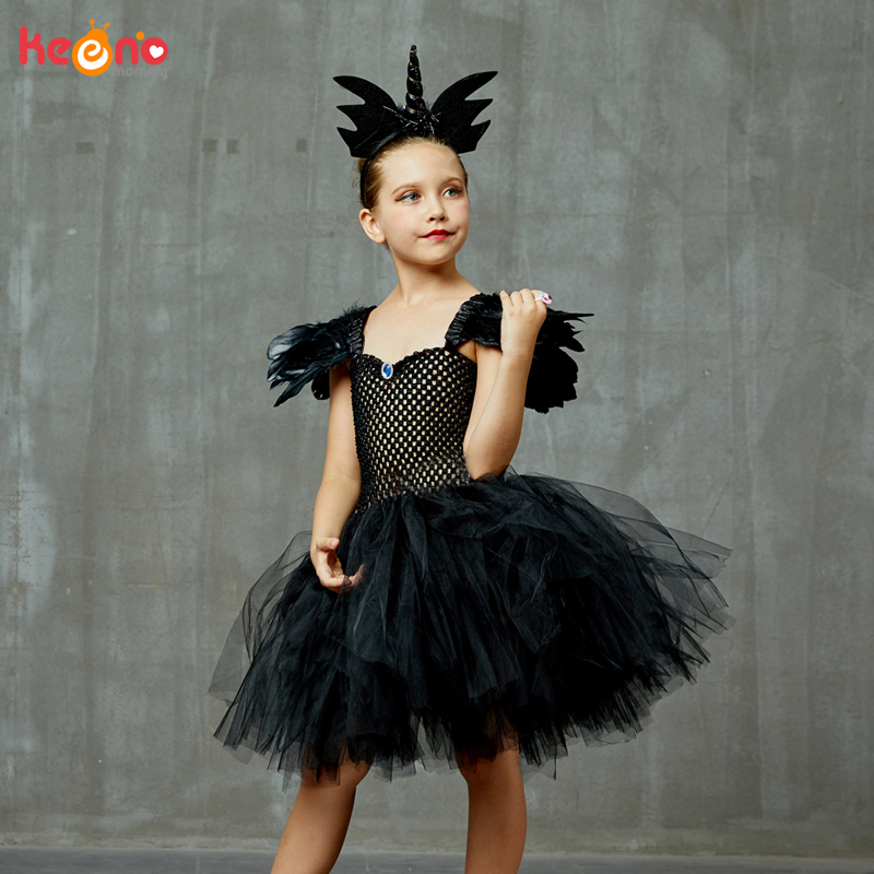 Black Dark Angel Girls Tutu Dress V-neck Train Girls Pageant Evening Party Ball Gown Fancy Dresses Kids Halloween Witch Costume 4