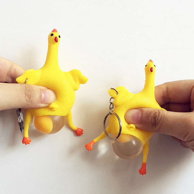 Creative Funny Toy Squeeze Toy Animal Squeeze Egg Pendant Keychain Children's Puzzle ADHD Anti Stress Toy Gift