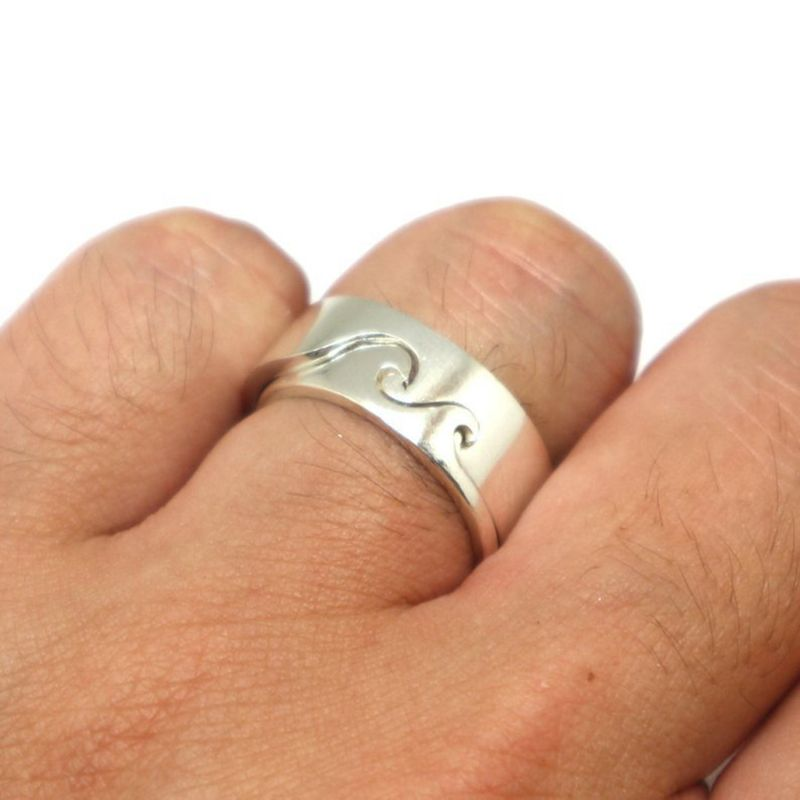 1 Set Silver Beach Wave Ring Simple Couples Lover Matching Band Romantic Jewelry in Engagement Rings from Jewelry Accessories