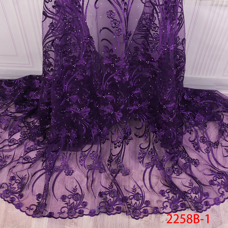 African Nigerian Lace Fabric 2019 High Quality Embroidered Tulle  Lace Fabric With Beads Stones Guipure Lace Trim Dress QF2258B 1Lace
