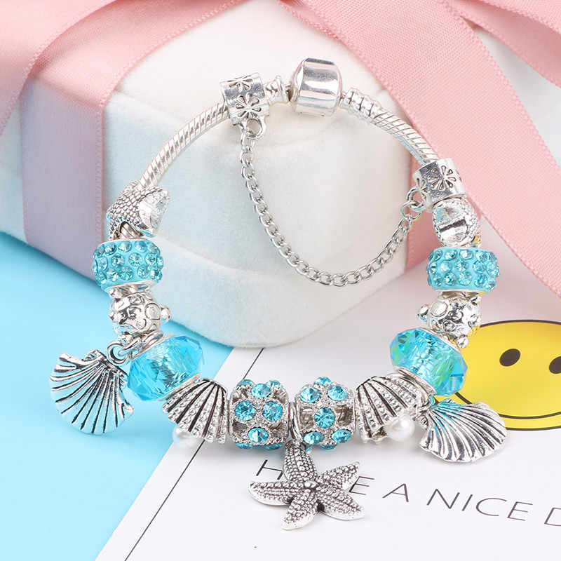 2019 ใหม่ 925 แฟชั่น Silver Charms สร้อยข้อมือกำไลข้อมือผู้หญิงคริสตัลดอกไม้ลูกปัดพอดีกับ Pandora Bracelets เครื่องประดับงู Chain ของขวัญ