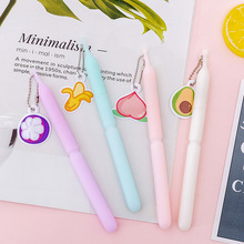 цена на 4 Pcs/lot Fruit Stick Gel Pen Cute Gel Pen Black Ink Kawaii Pen Cartoon Kawaii School Supplies Student Stationery for Girl Gift