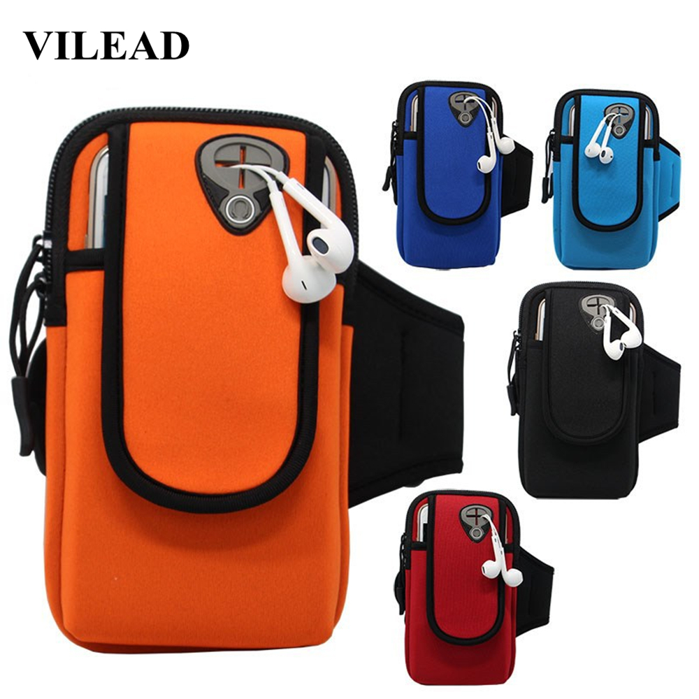 Vilead Brief Neoprene Outdoor Running Bag Waterproof Unisex Fitness Sports Arm Bag Cellphone Cards Holder Bag With Headset Hole