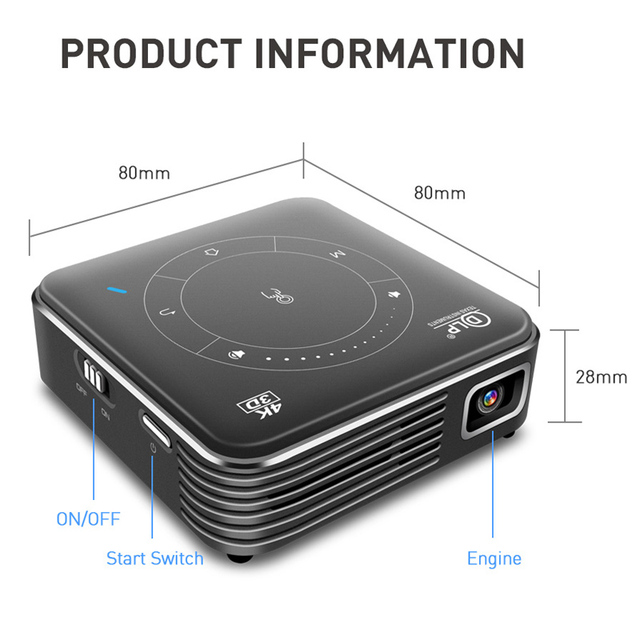 WZATCO T11 Portable Mini DLP 3D Projector HD Android 9.0 For Full 1080P 4