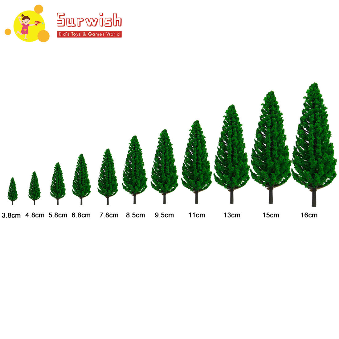 Surwish 20/33/44pcs 3.8-16cm(1.5-6.3inch) Height Pine Tree Model Sand Table Scenery Building Parts For Ho 1:85 Scale Toy Train