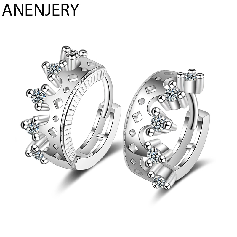 ANENJERY Sweet Silver Color Hollow Zircon Crown Small Hoop Earring For Women Girl Gift S-E1058