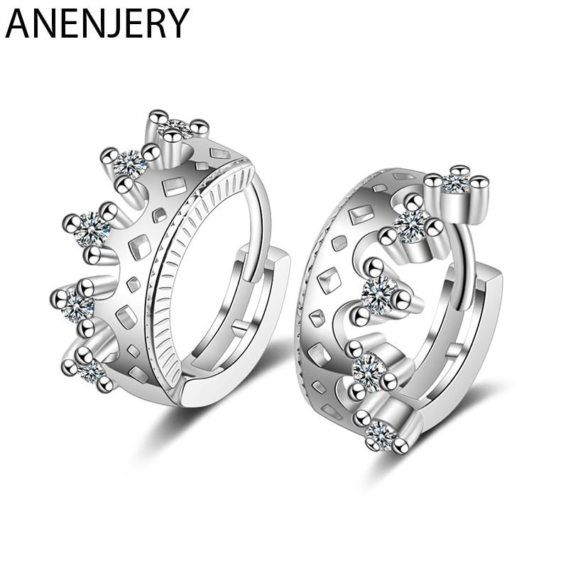 ANENJERY Sweet Silver Color Hollow Zircon Crown Small Hoop Earring For Women Girl Gift S-E1058