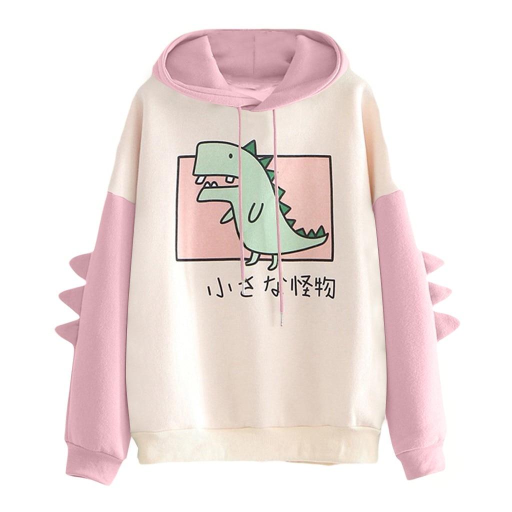 Fashion Women Sweatshirt Casual Print Long Sleeve Splice Dinosaur hoodies Sweatshirt Tops ropa mujer толстовка женская 8