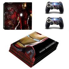 Marvel pegatina de recubrimiento adhesivo profesional PS4 de Iron Man, cubierta para consola PlayStation 4 y 2 controladores, recubrimiento adhesivo profesional PS4 de vinilo