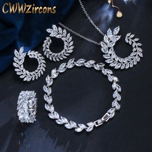 CWWZircons 4 Pcs Leaf Shape New Fashion CZ Necklace Earring Bracelet and Ring Sets Famous Brand Jewelry Womens Accessories T011