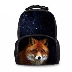 Dostosować plecak dla dzieci szkoła plecaki torby Denim zwierząt lisa kobiet torba podróżna tornister dla nastolatków plecak dla studentów