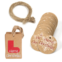100PCS Merry Christmas Gift Kraft Paper Tags Snowflake Party Decor DIY Labels Santas Boots