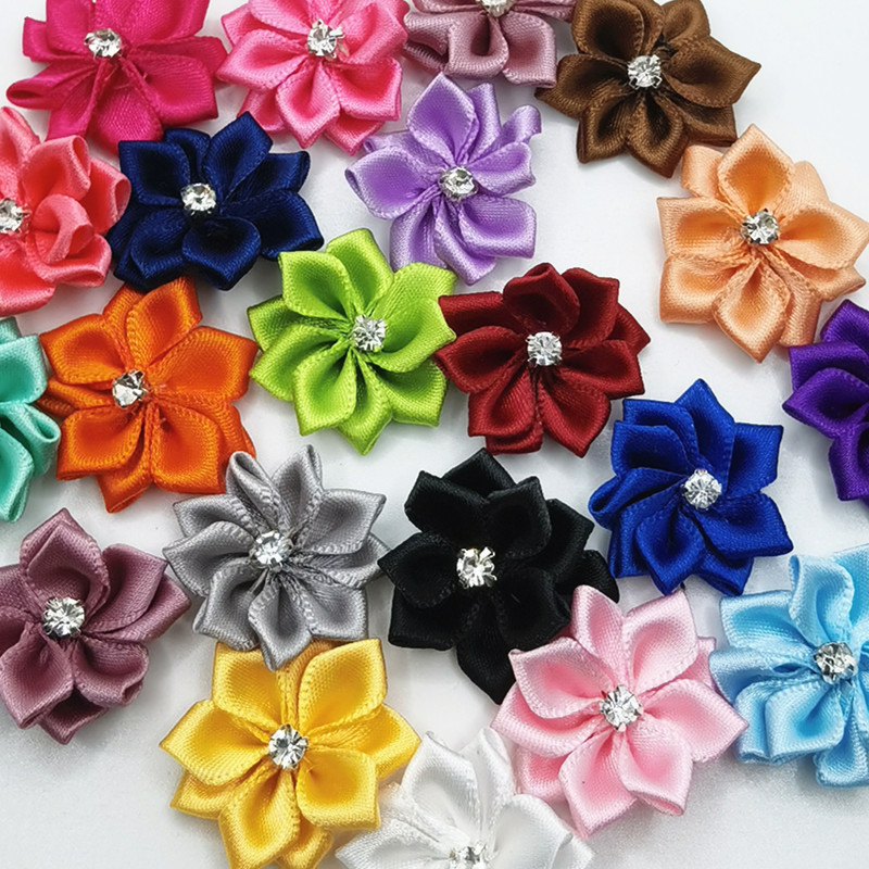 Chenkou Craft 40pcs Satin Ribbon Flower Bows Rose Craft Wedding Sewing Appliques Polyester A0041 Rose