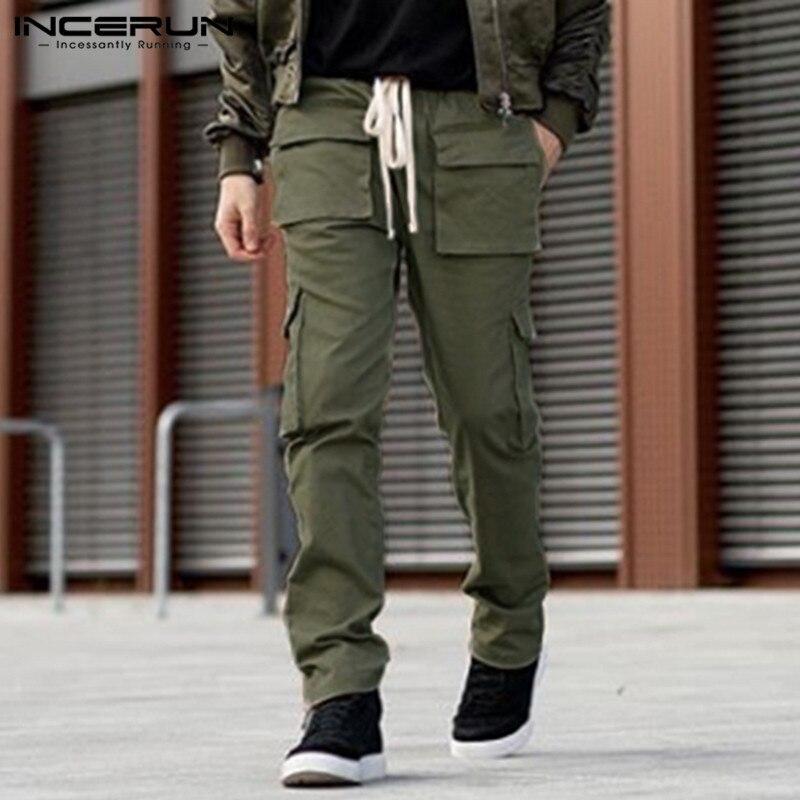 INCERUN Fashion Men Cargo Pants Multi-Pockets Drawstring Solid Color Casual Joggers Pants Harajuku Loose Trousers Men 2020 S-5XL