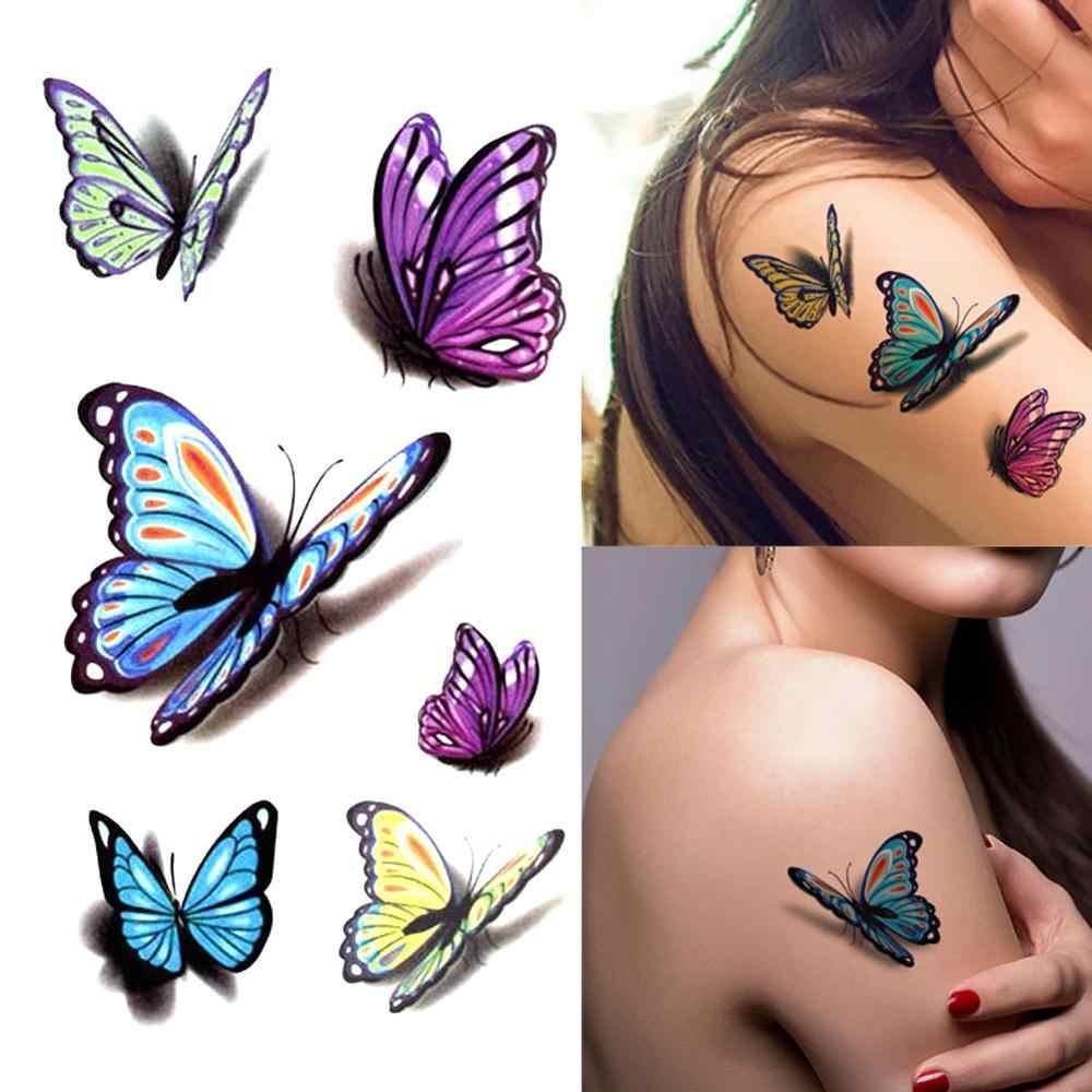 Baru Wanita 3D Tato Sementara Stiker Tahan Air Tubuh Stiker Palsu Tato Seni Taty Pola Kupu-kupu Tato Stiker