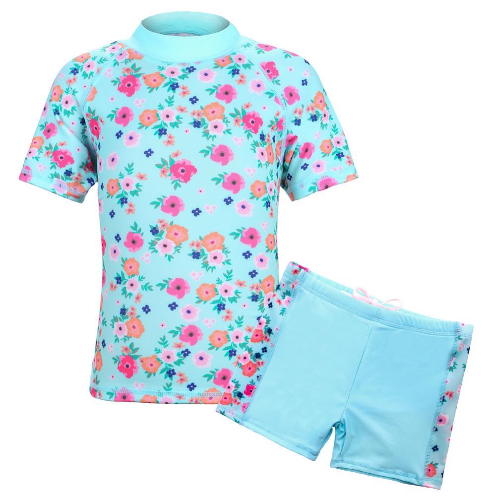 BAOHULU Print Girls Swimwear Short Sleeve Kids Swimsuit Tankini Teens Rash Guards Set Swimming Suits For Children 3-12 Years