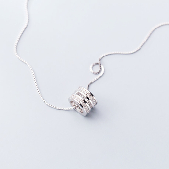 Geometric Double Round Korean Temperament 925 Sterling Silver Clavicle Chain Literary Personality Female Necklace SNE349 round geometric cut out arm chain
