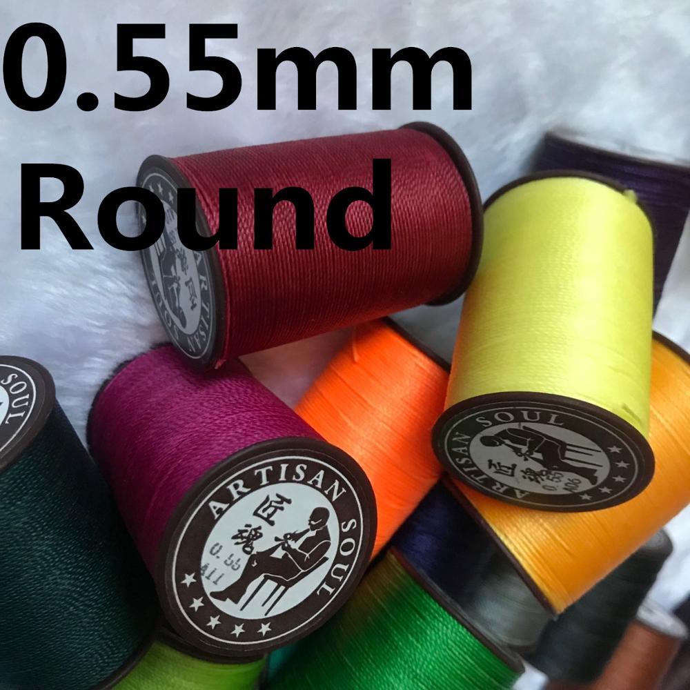 JH005 0,55 мм 113 м Длинная Круглая вощеная нить из полиэстера для кожи, швейные кожаные нитки