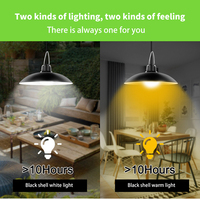 Led solar lamp waterproof double head solar pendant light outdoor indoor solar lights with cable suitable for camping garden