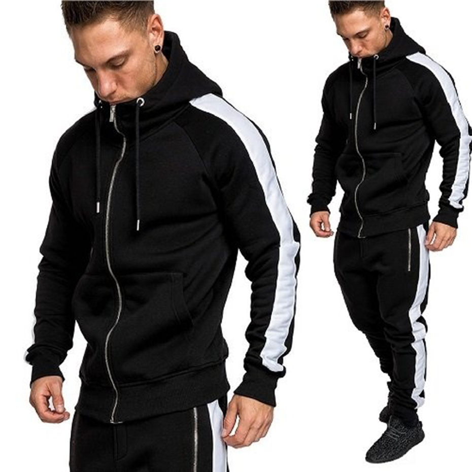 2019 Brand Street Casual Men Hoodie Sets Tracksuits Outwear Zipper Sportwear Sets Male Sweatshirts Cardigan Men Set Clothing 3XL