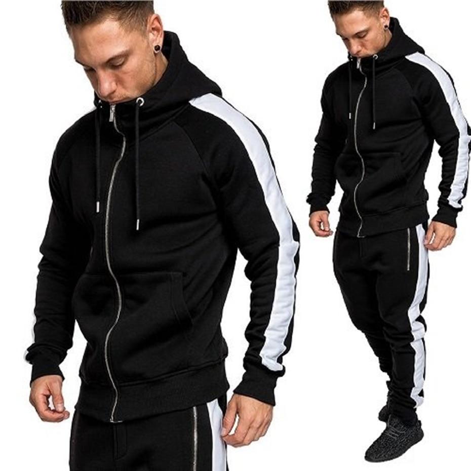 2019 Brand Street Casual Men Hoodie Sets Tracksuits Outwear Zipper Sportwear Sets Male Sweatshirts Cardigan Men Set Clothing 3XL