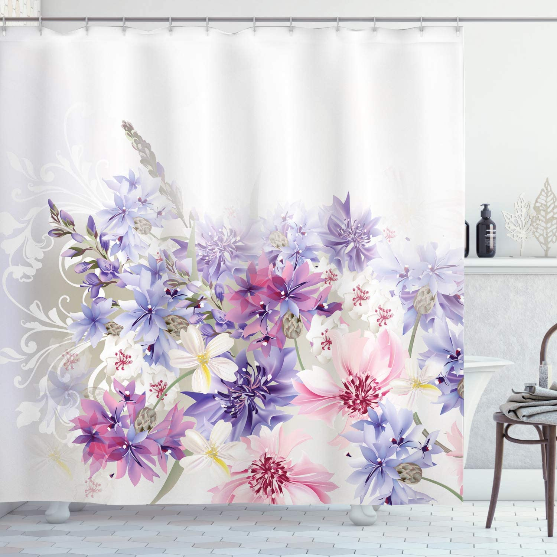 Lavender Shower Curtain Pastel Cornflowers Bridal Classic Design Gentle Floral Wedding Design Print Bathroom Decor Set with Hook