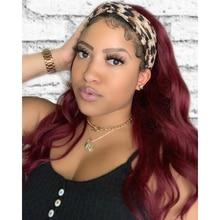 Wigs Human-Hair Peruvian for Black-Women Headband No-Gel Body-Wave-Machine 99J Bungundy